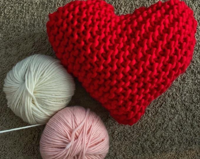 Cute Hand Knit Heart Pillow
