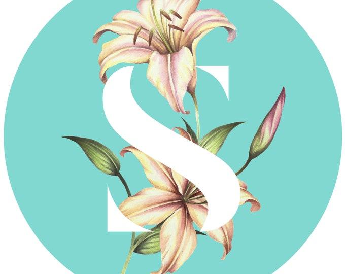 S Monogram Letter, printable art, typography, monogram, floral, flowers