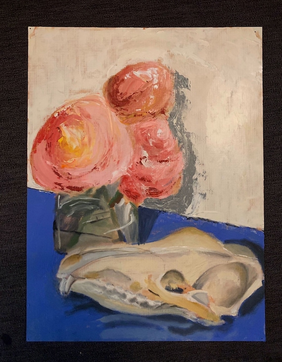9 by 12 floral skull original oil painting