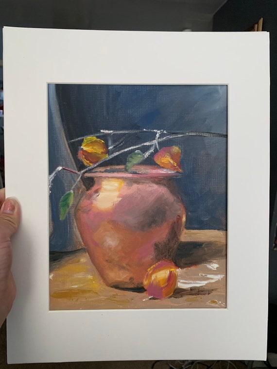 Original oil on canvas paper still life painting