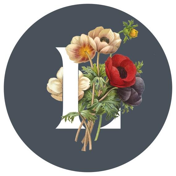 "Floral ""L"", printable art, typography, monogram, floral, flowers"