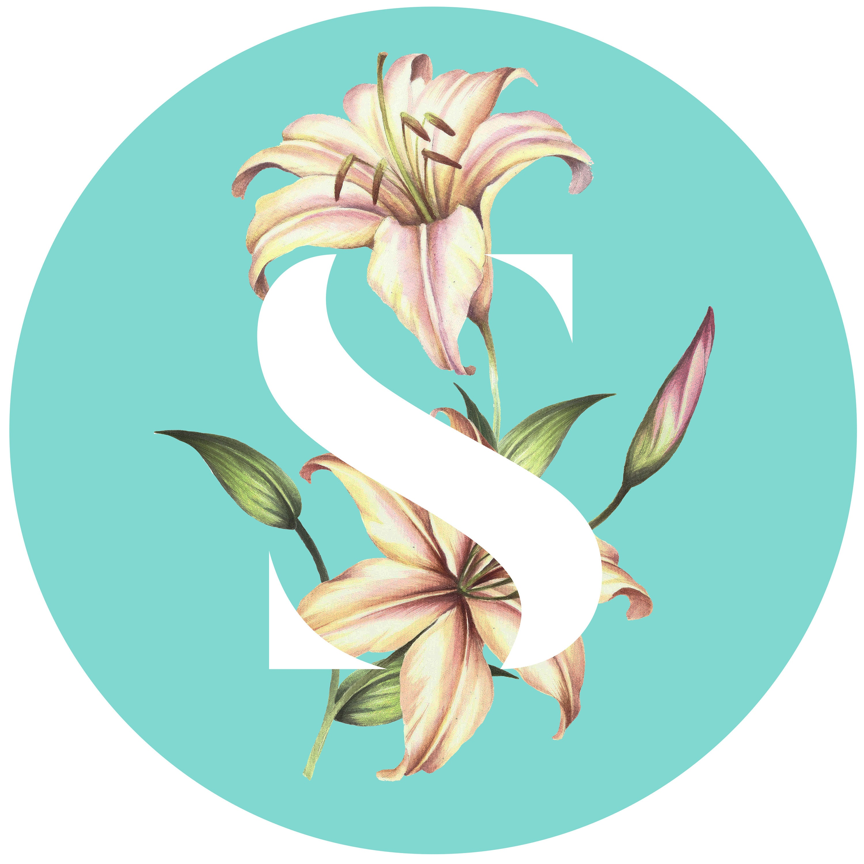 S Monogram Letter, printable art, typography, monogram, floral