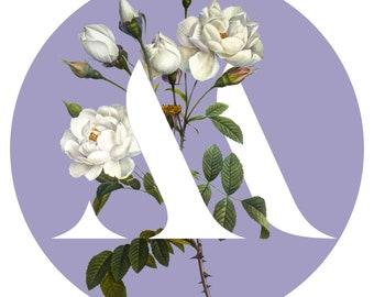 M monogram lettering, printable art, typography, monogram, floral, flowers