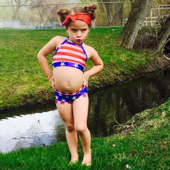 1f6ddba37d033 Patriotic Red White Blue Stars and Stripes Girls Two Piece   Etsy