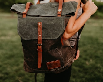 d4c0a626e2 Waxed Canvas Adventure Hiking Backpack - Khaki Gray Blue Green Backpack -  Non Leather