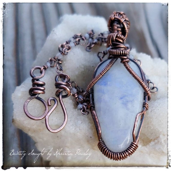 Moonstone necklace moonstone jewelry moonstone pendant moonstone beads copper jewelry gifts for her wire jewelry moonstone cabochon wire art