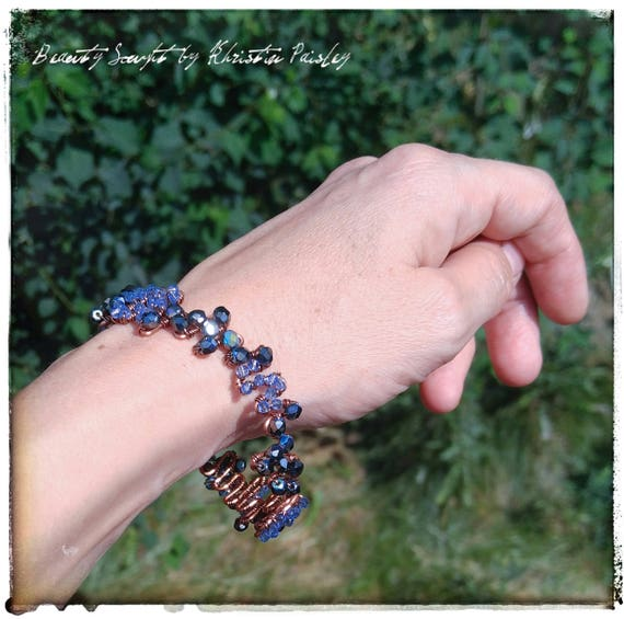 Copper wire bangle Czech glass beads purple beads blue beads ab finish bead faceted beads beaded bracelet wire bracelet lilac beads parawire