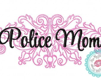 Police Mom Damask  Machine Embroidery Design