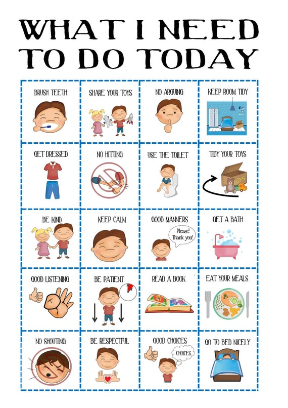 Behaviour chart for boys toddler routine chart visual aid etsy