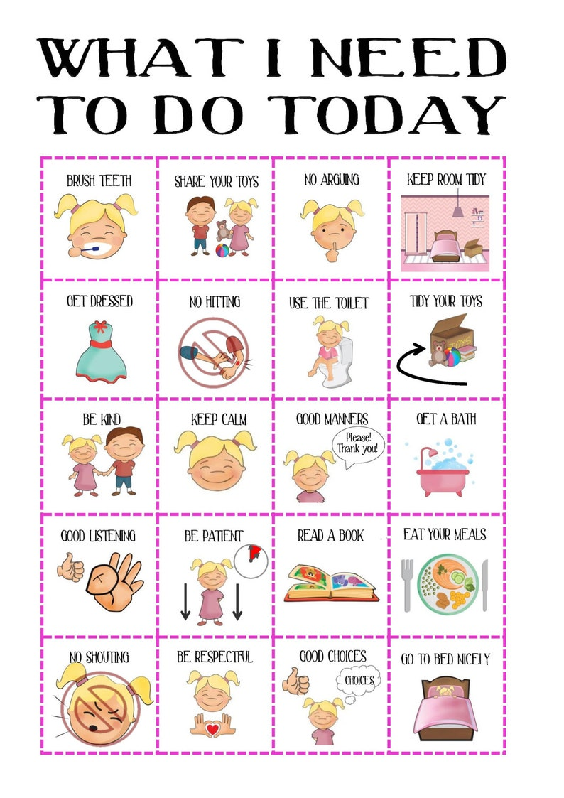 photograph regarding Picture Cards for Autism Printable identified as Women of all ages Conduct chart, with images, plan chart, day-to-day planner, printable, visible support, Added benefits ADHD, SEN, PECS Autism, prompt obtain