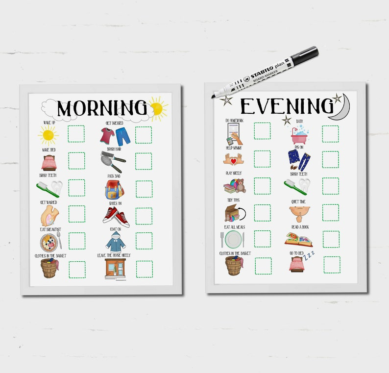 Kids, daily routine, visual timetable, instant download, printable, toddler  routine, visual aid, Autism, morning routine, evening routine