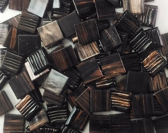 Vitreous glass mosaic tiles, 20x20 mm (3/4 inch),Semi-translucent, Chocolate