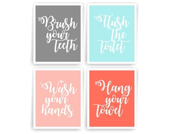 Superieur Kids Bathroom Wall Art Prints Bathroom Rules Kids Bathroom Signs Printable  Bathroom Decor Girl Bathroom Digital Art Prints (003BA810)(n078)