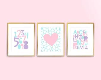 Printable DIY Nursery Art Prints, Pale Aqua, Purple, Pink Alphabet, Numbers, Heart, Set of 3, 8x10 JPG ( cc051 ) ( 057set810 )