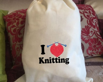 I Love Knitting Cotton Drawstring Bag - Various Sizes Available Mothers Day Birthday Gift