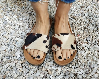 Happy cow - upper parts accessories for the 'Ethical Magic Sliders' made of recycled vegan material.