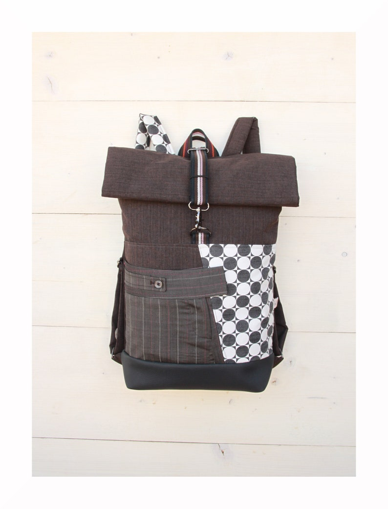 8c99120ffd9cd Gray upcycled roll top rucksack using part from an elegant