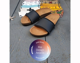 The Ethical Magic Sliders, upcycled sandals made from recycled materials. By changing the upper part you have countless possibilities!