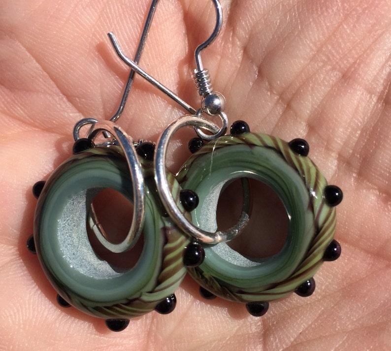 8d069aa57 Green / Camouflage Lampwork Glass Hoop Earrings   Etsy