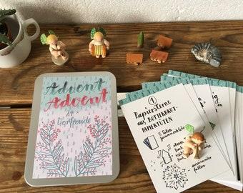 Advent, Advent, Adventskalender, 24 x mal Vorfreude, 24 Ideen in einer Blechdose zum Aufstellen. Basteltipps, Rezepte und DIY-ideen