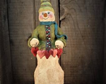 Primitive Snowman with a String of Hearts~~OOAK~~Folk Art Snowman