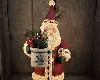 Old World Santa with stoneware crock~~OOAK~~Folk Art Santa