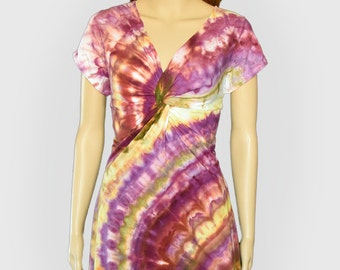 Maroon Yellow Purple Spiral Tie Dye Dress - Twisted Front Dress -  Size Extra Large XL