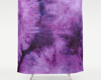 Fabric Shower Curtain Plum Purple Tie Dye Decorative 71x74 Inches