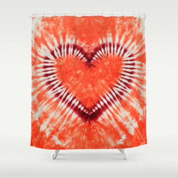 Tissu douche Rideau-coeur Marron Orange corail Tie Dye-décoratif ...