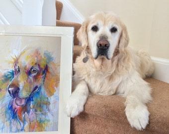 Large Bespoke Original Watercolour & Mixed Media Portrait Painting - by Sketchbuck | A2 custom | (dog, cat, horse, rat, small animal)