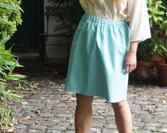Lala - turquoise knee-length skirt, cotton skirt, summer, spring, dance skirt, sewn in Wuppertal