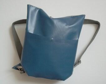 Lara dark blue backpack, Upcycling backpack made of used truck tarp