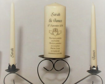 Personalised Claddagh Unity Candle Set for Weddings, Annversaries, Renewal of Vows, etc unity ceremony, hand decorated, made to order