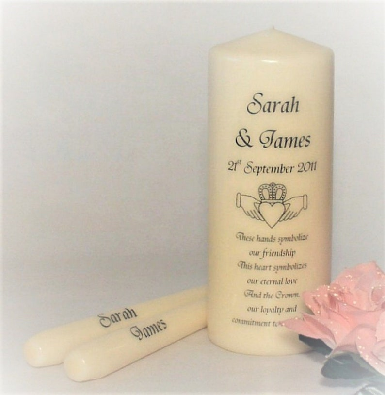 Love Birds Personalized Unity Candle Ceremony White or Ivory Wedding Candles