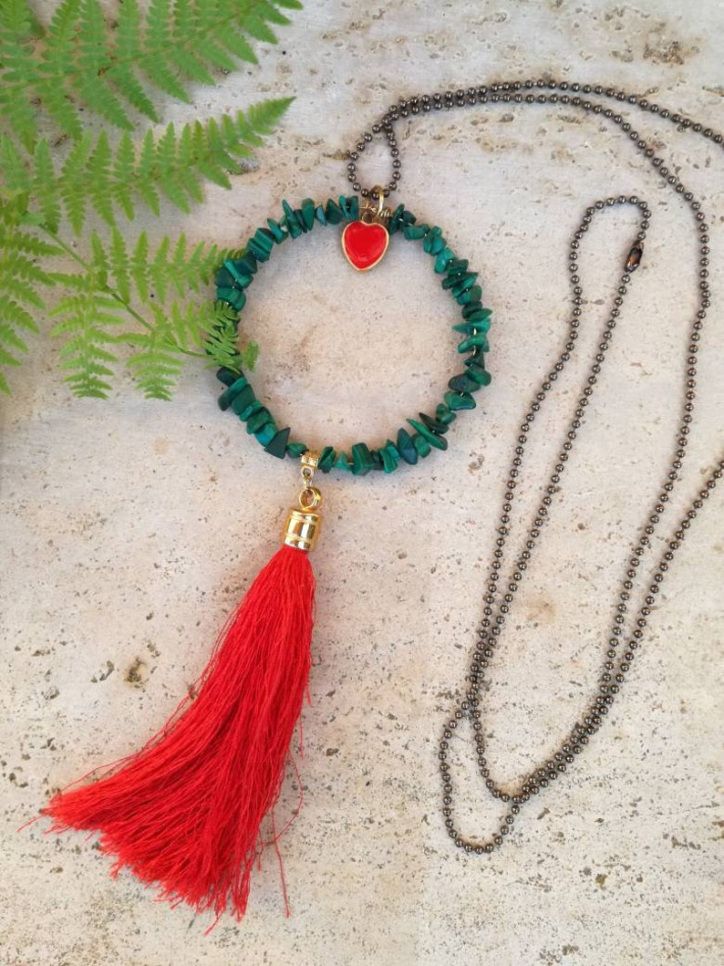 Long Necklace Brass Chain Necklace Tassel Necklace Circle Shaped Statement Semi Precious Stones Necklace