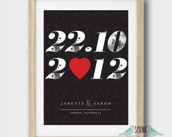 Wedding Anniversary Date Wall Art Print