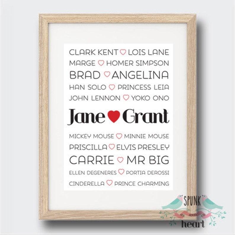 8826885aac8 Famous Couple Anniversary Wedding Love Wall Art Print Decor