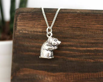 Hamster Silver Necklace • Animal present gifts for mum wife girlfriend, rodent, pet, charm, sterling silver, cute, quirky, rat