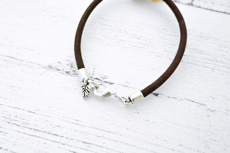 Amber Bumble Bee Cork Bracelet Vegan Cork Jewellery
