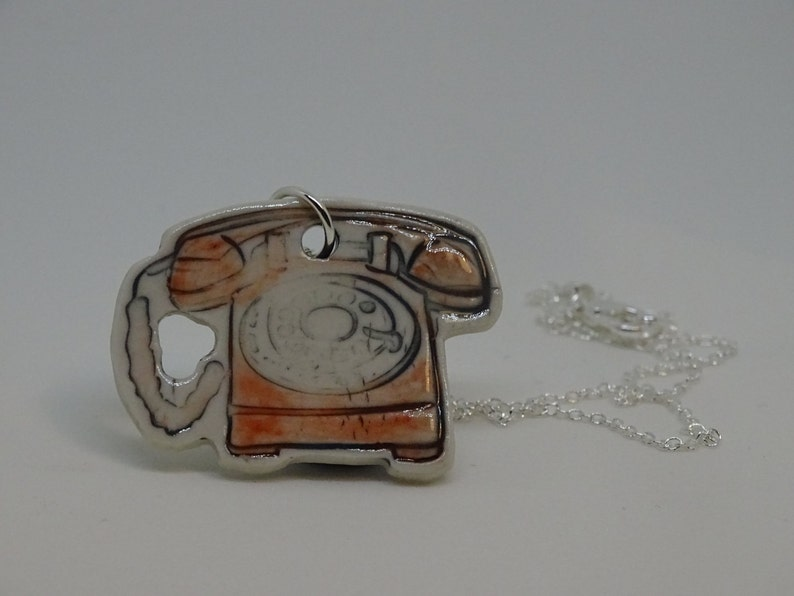 40/% Off Original Price Porcelain /'Retro/' Red Vintage Analogue Telephone Pendant Necklace 925 Sterling Silver Chain. Hand Crafted