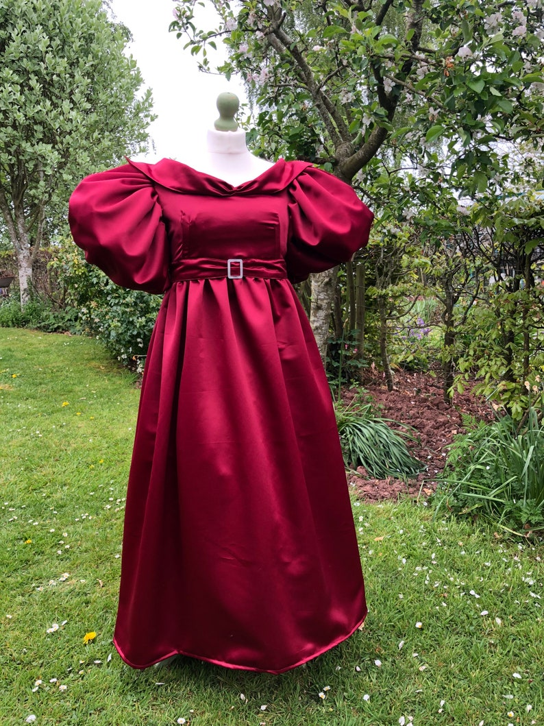 Romantic Period Historical Costume Made to Measure Bespoke Cosplay Georgian Fashion Regency Satin 1830 Evening Dress Handmade
