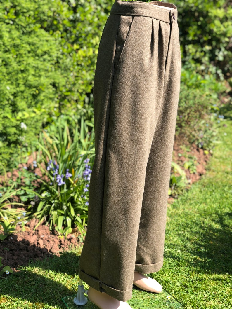 1950s Men's Pants, Trousers, Shorts | Rockabilly Jeans, Greaser Styles Woollen high waisted wide leg trousers | retro mens Pants | double pleat trousers | made to order | handmade | vintage menswear $134.00 AT vintagedancer.com