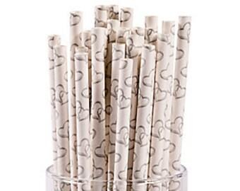 Elegant Two Hearts Paper Straws/ Wedding straws / Wedding