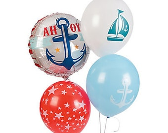 4 Pcs / Ahoy Nautical Balloons / nautical party theme / Party balloons