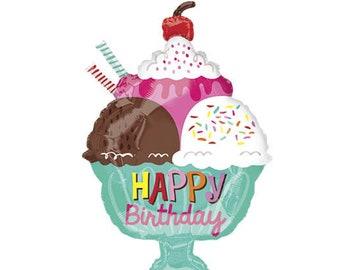 23 Happy Birthday Sweet Ice Cream Balloon Theme Party Sundae Balloons