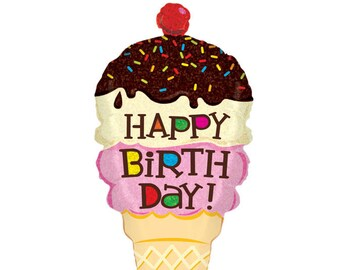 "33"" Happy Birthday Ice cream balloon/  Ice Cream theme party / Ice Cream party"