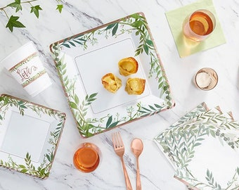 greenery rose gold bridal shower lunch platesbridal showerbridalbridal shower tablewarebridebridal shower plates rose gold and green