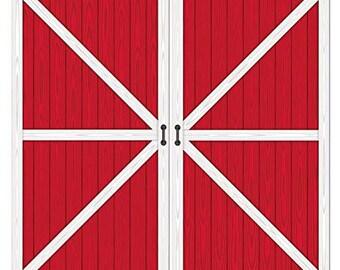 Barn Door Backdrop/ Farm Party / Farm/ Barn Red Door Backdrop/ Farm  Backdrop/ Farmhouse/ Cow / Barn House / Barn/ Barn Wood Backdrop