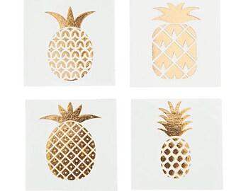 6737dfbdc 24/ Golden Pineapple tattoos / Luau Party / Luau Theme / Pineapple theme /  party favors