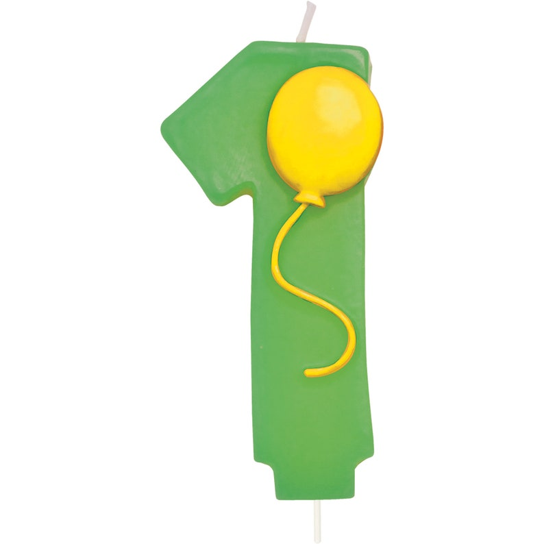 One balloon Cake Candle  circus cake candle  first cake candle  green cake candle  green number one candle  cake candles